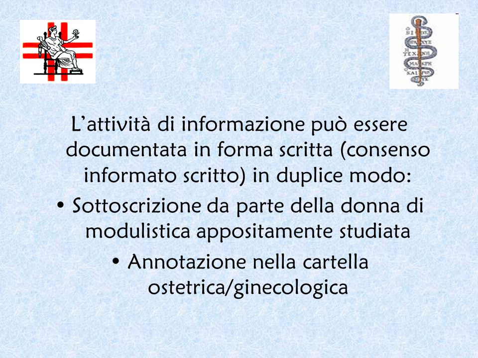 Annotazione nella cartella ostetrica/ginecologica