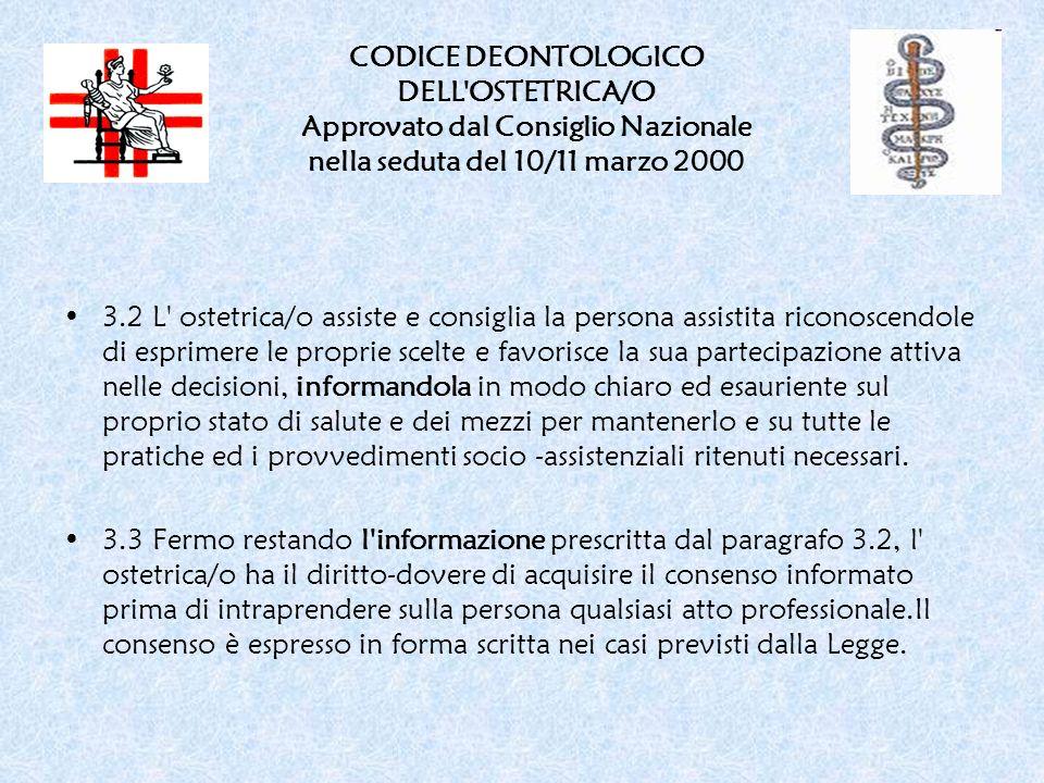 CODICE DEONTOLOGICO DELL OSTETRICA/O Approvato dal Consiglio Nazionale nella seduta del 10/11 marzo 2000