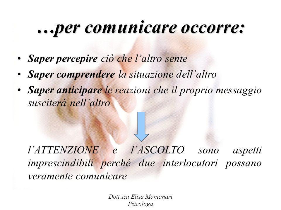 …per comunicare occorre: