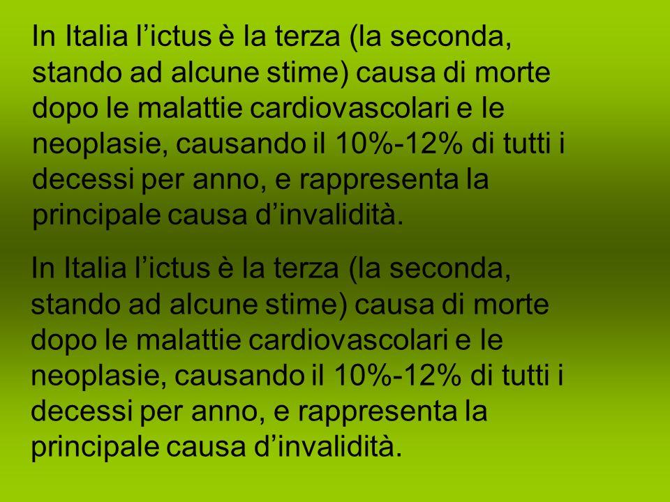 In Italia l'ictus è la terza (la seconda, stando ad alcune stime) causa di morte dopo le malattie cardiovascolari e le neoplasie, causando il 10%-12% di tutti i decessi per anno, e rappresenta la principale causa d'invalidità.