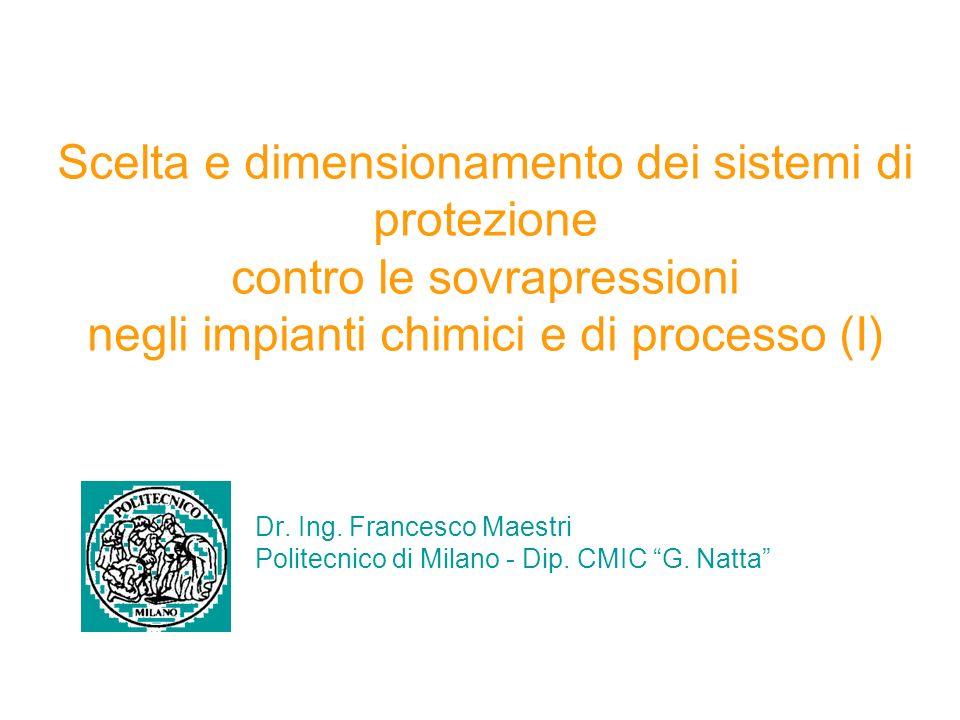 Scelta e dimensionamento dei sistemi di protezione contro le sovrapressioni negli impianti chimici e di processo (I)