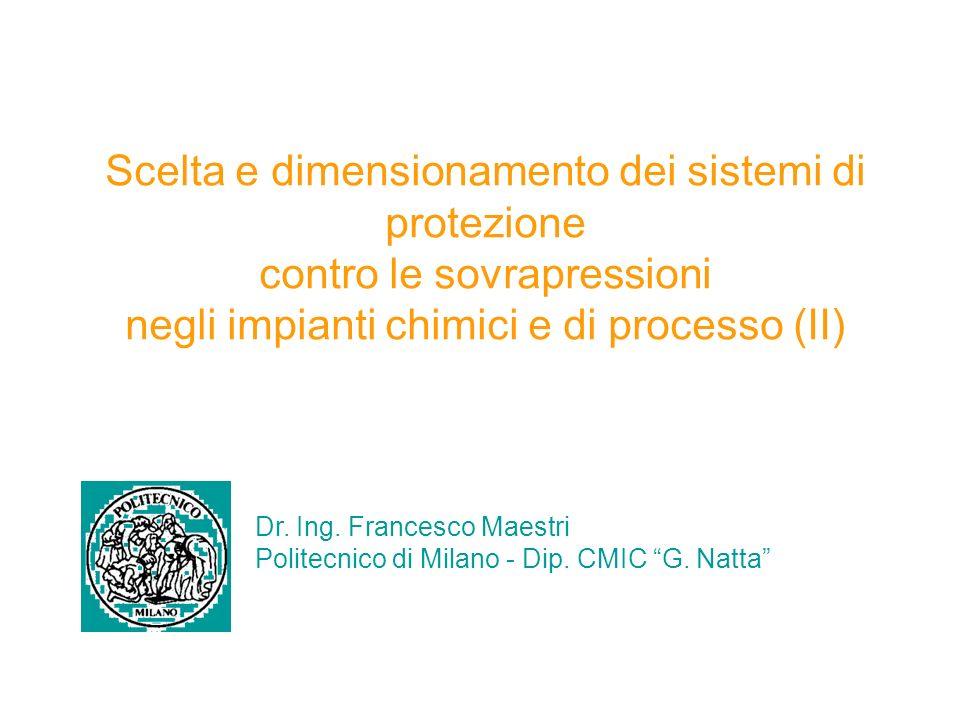 Scelta e dimensionamento dei sistemi di protezione contro le sovrapressioni negli impianti chimici e di processo (II)