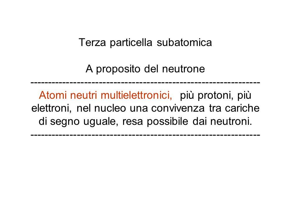 Terza particella subatomica A proposito del neutrone --------------------------------------------------------------- Atomi neutri multielettronici, più protoni, più elettroni, nel nucleo una convivenza tra cariche di segno uguale, resa possibile dai neutroni.