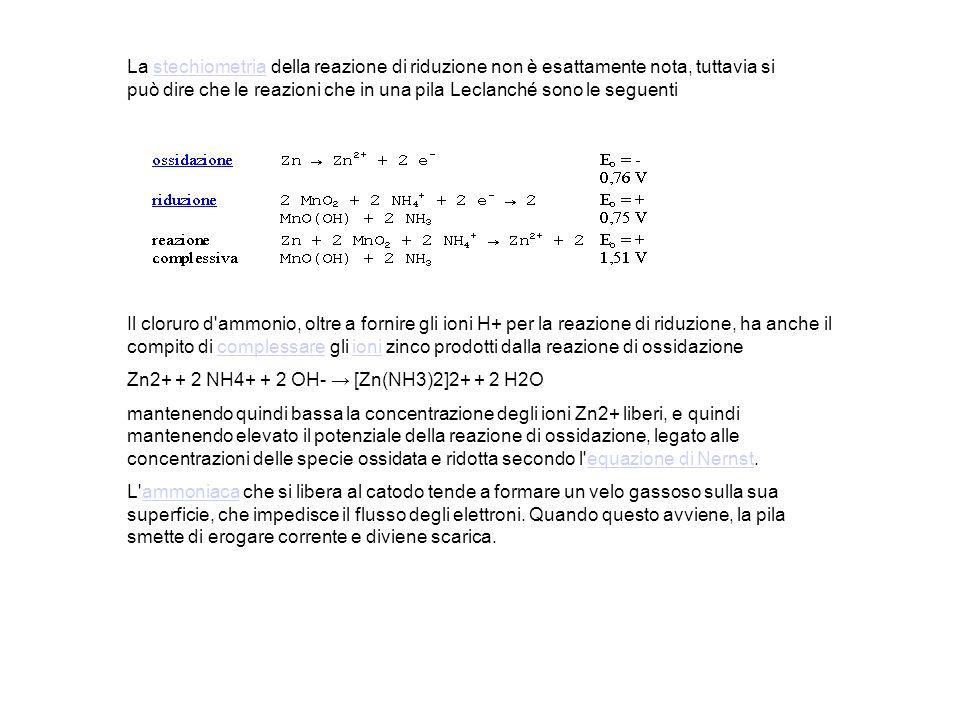 La stechiometria della reazione di riduzione non è esattamente nota, tuttavia si può dire che le reazioni che in una pila Leclanché sono le seguenti