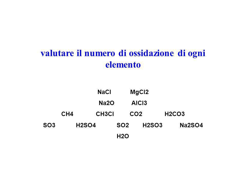 valutare il numero di ossidazione di ogni elemento