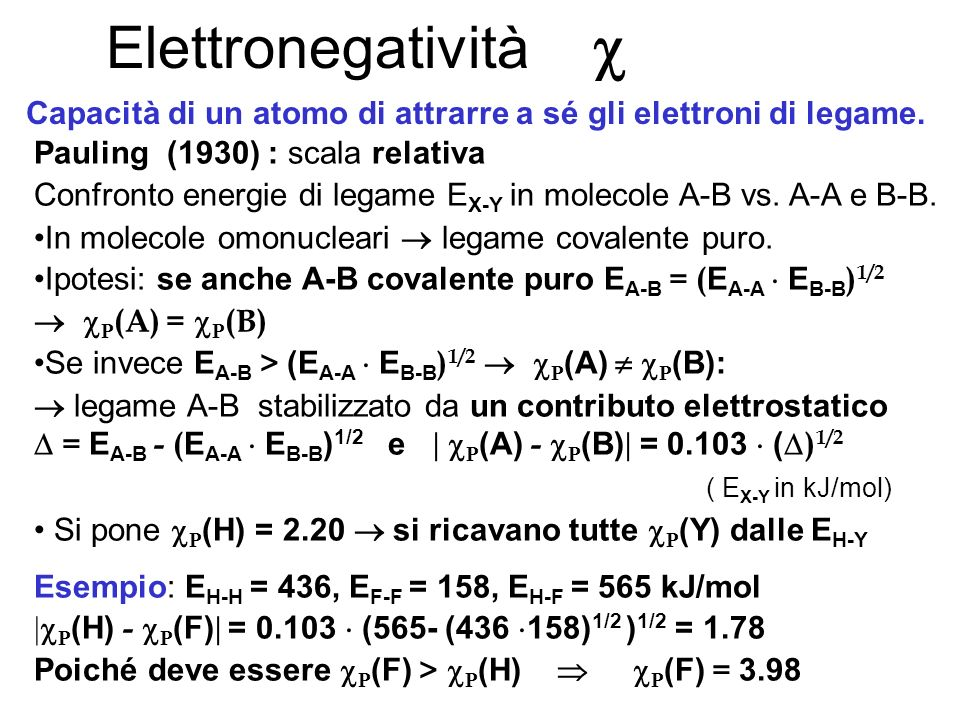 Capacità di un atomo di attrarre a sé gli elettroni di legame.