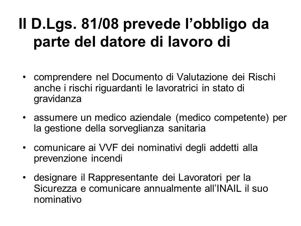 Il D.Lgs. 81/08 prevede l'obbligo da parte del datore di lavoro di