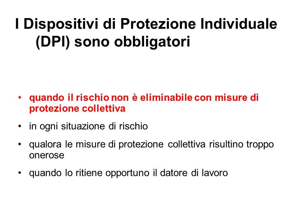 I Dispositivi di Protezione Individuale (DPI) sono obbligatori