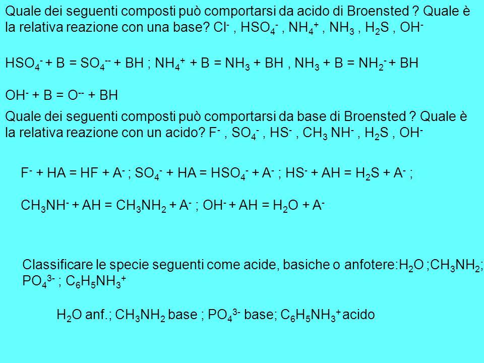 Quale dei seguenti composti può comportarsi da acido di Broensted