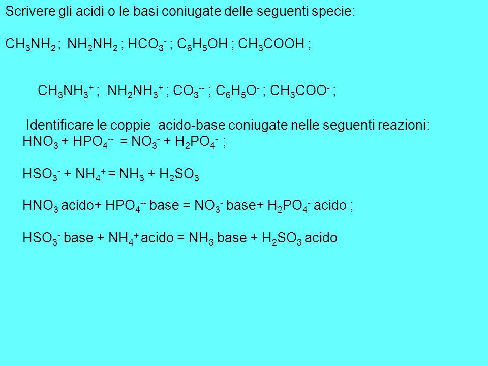 Scrivere gli acidi o le basi coniugate delle seguenti specie: