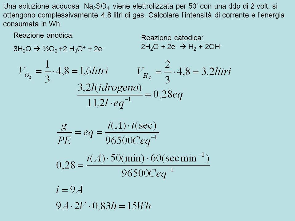 Una soluzione acquosa Na2SO4 viene elettrolizzata per 50' con una ddp di 2 volt, si