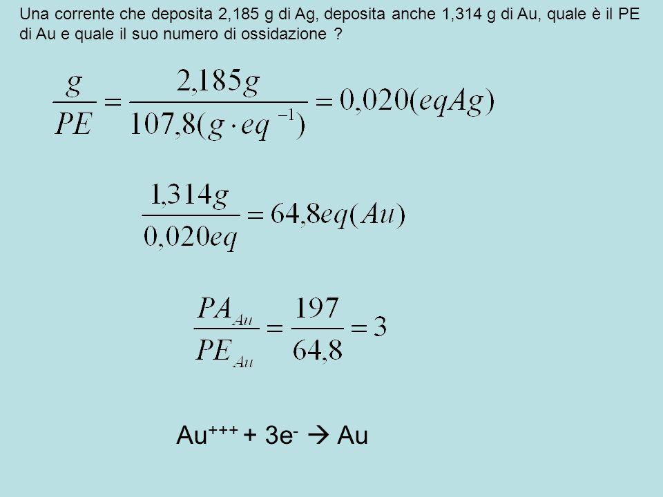 Una corrente che deposita 2,185 g di Ag, deposita anche 1,314 g di Au, quale è il PE di Au e quale il suo numero di ossidazione