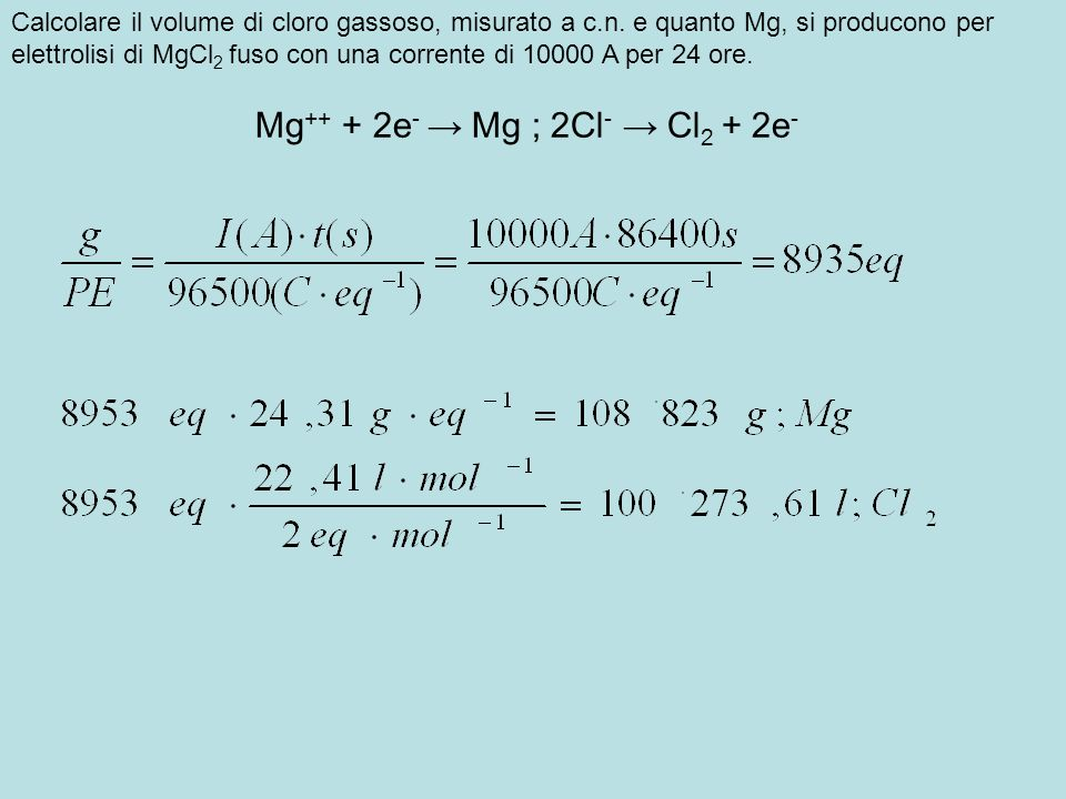 Mg++ + 2e- → Mg ; 2Cl- → Cl2 + 2e-