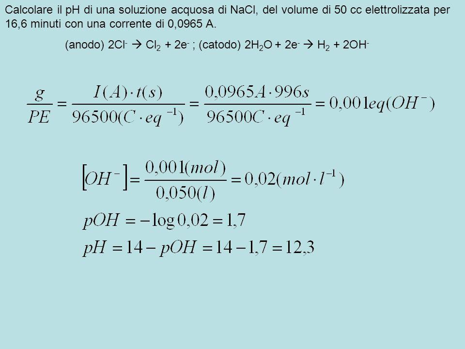 Calcolare il pH di una soluzione acquosa di NaCl, del volume di 50 cc elettrolizzata per