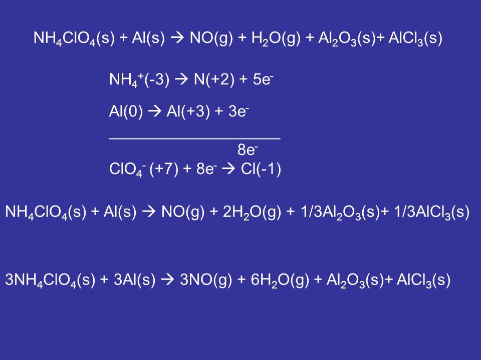 NH4ClO4(s) + Al(s)  NO(g) + H2O(g) + Al2O3(s)+ AlCl3(s)