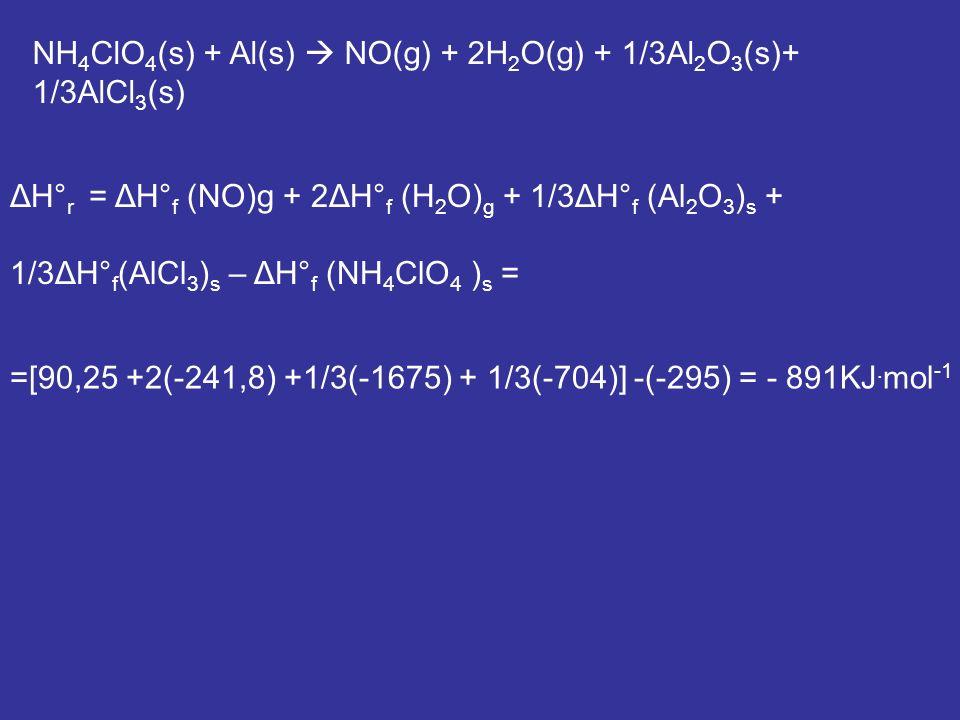 NH4ClO4(s) + Al(s)  NO(g) + 2H2O(g) + 1/3Al2O3(s)+