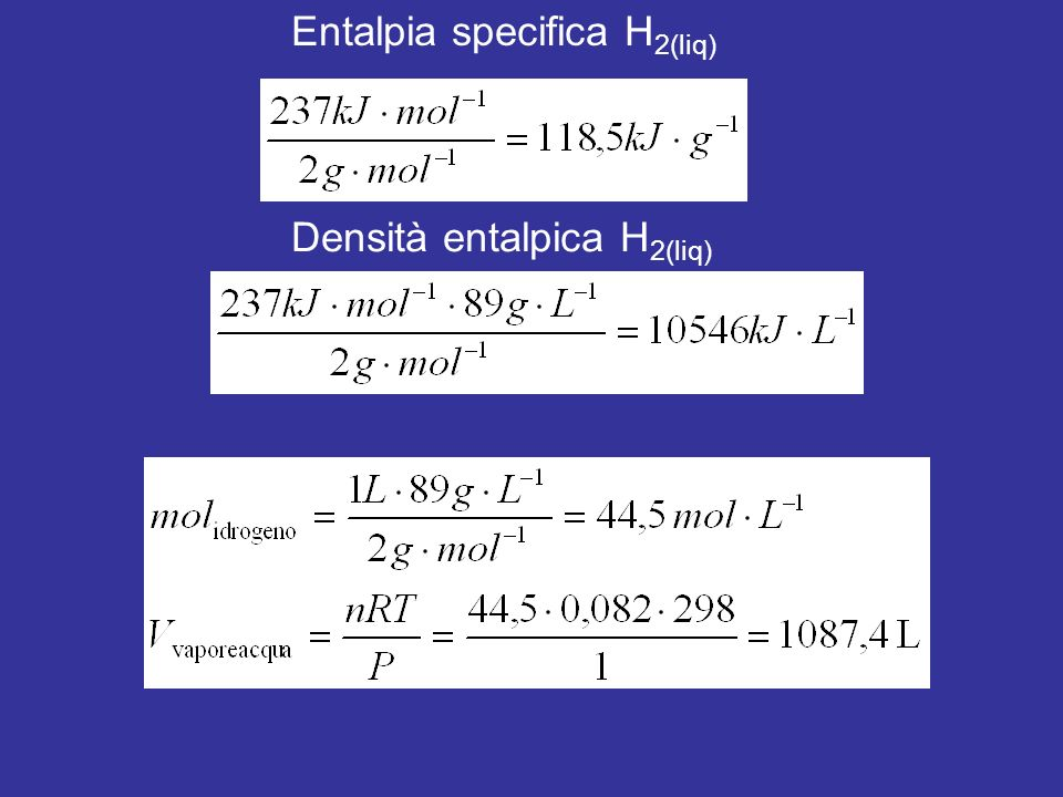 Entalpia specifica H2(liq)