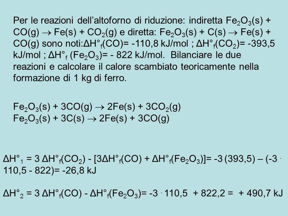 Per le reazioni dell'altoforno di riduzione: indiretta Fe2O3(s) + CO(g)  Fe(s) + CO2(g) e diretta: Fe2O3(s) + C(s)  Fe(s) + CO(g) sono noti:ΔH°f(CO)= -110,8 kJ/mol ; ΔH°f(CO2)= -393,5 kJ/mol ; ΔH°f (Fe2O3)= - 822 kJ/mol. Bilanciare le due reazioni e calcolare il calore scambiato teoricamente nella formazione di 1 kg di ferro.