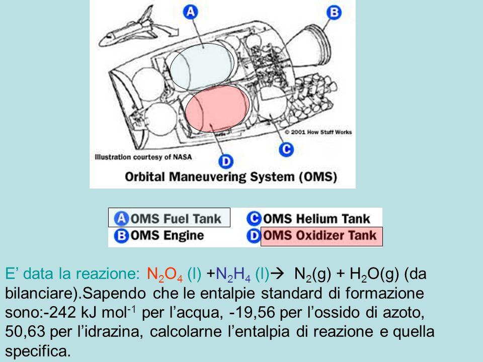 E' data la reazione: N2O4 (l) +N2H4 (l) N2(g) + H2O(g) (da bilanciare).Sapendo che le entalpie standard di formazione sono:-242 kJ mol-1 per l'acqua, -19,56 per l'ossido di azoto, 50,63 per l'idrazina, calcolarne l'entalpia di reazione e quella specifica.