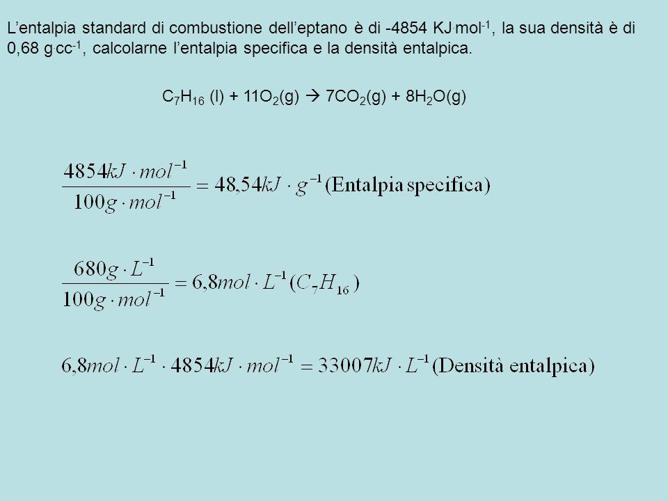 L'entalpia standard di combustione dell'eptano è di -4854 KJ