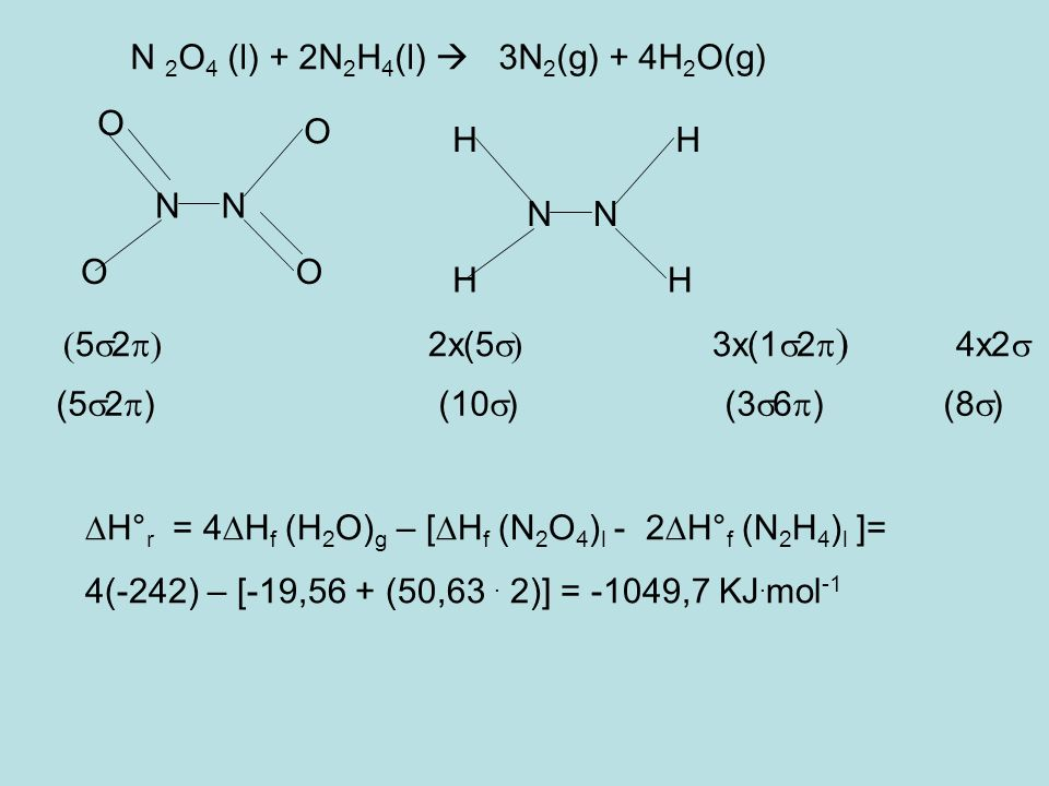 N 2O4 (l) + 2N2H4(l)  3N2(g) + 4H2O(g)