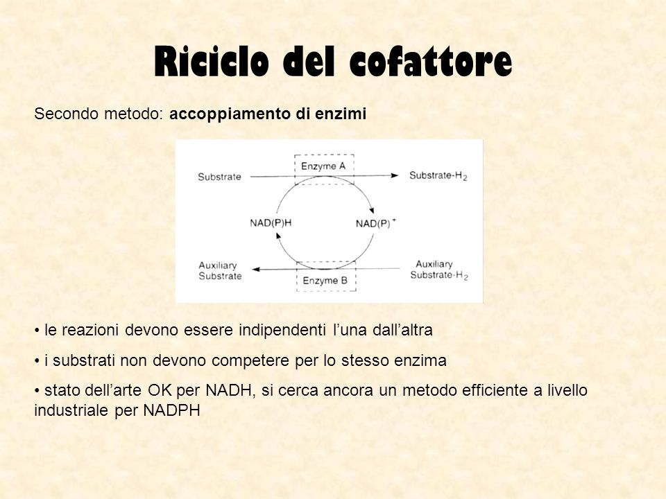 Riciclo del cofattore Secondo metodo: accoppiamento di enzimi
