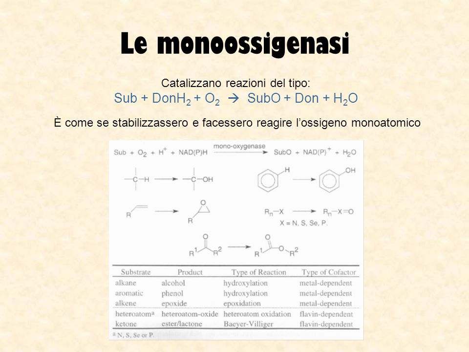 Le monoossigenasi Sub + DonH2 + O2  SubO + Don + H2O