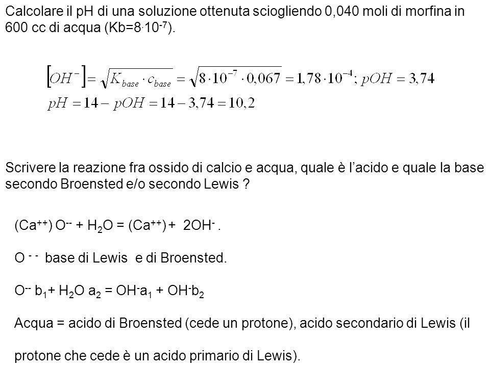 Calcolare il pH di una soluzione ottenuta sciogliendo 0,040 moli di morfina in 600 cc di acqua (Kb=8.10-7).