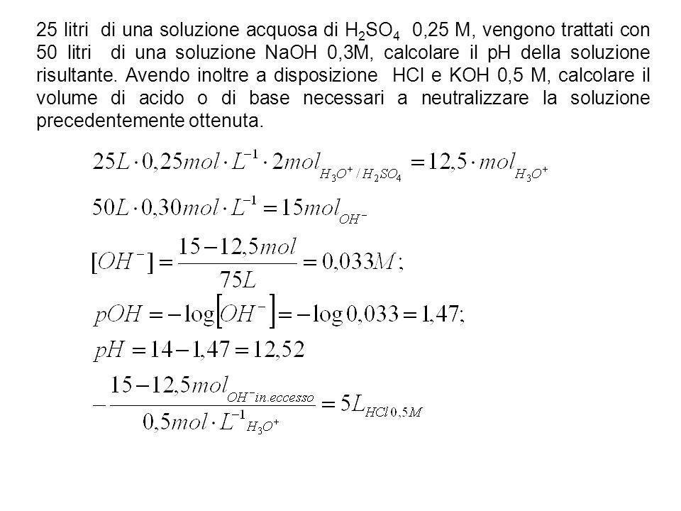 25 litri di una soluzione acquosa di H2SO4 0,25 M, vengono trattati con 50 litri di una soluzione NaOH 0,3M, calcolare il pH della soluzione risultante.