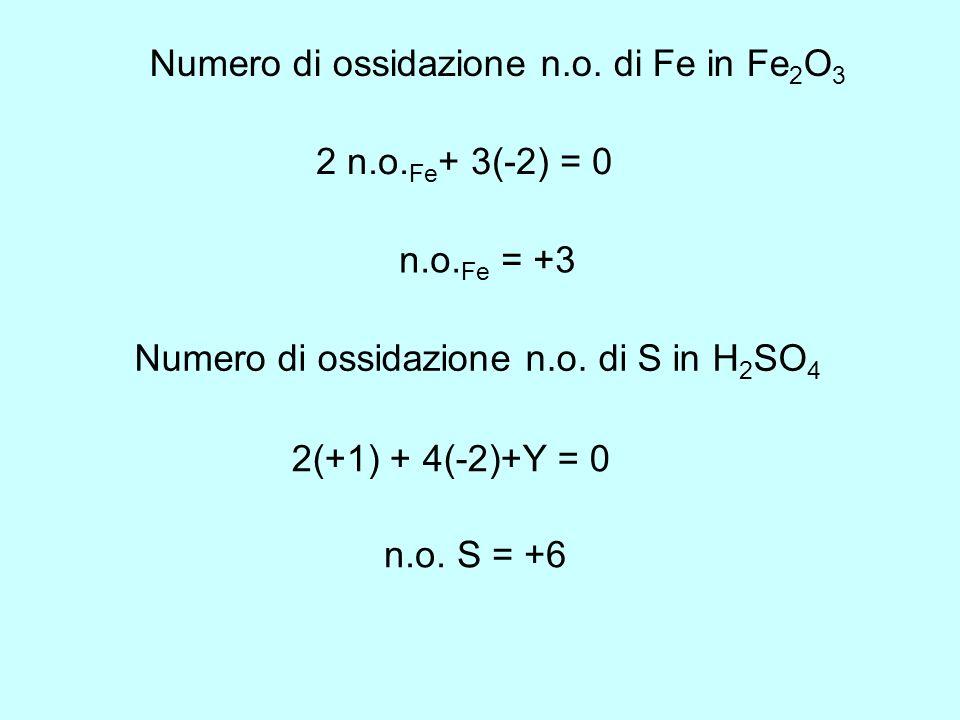 Numero di ossidazione n.o. di Fe in Fe2O3
