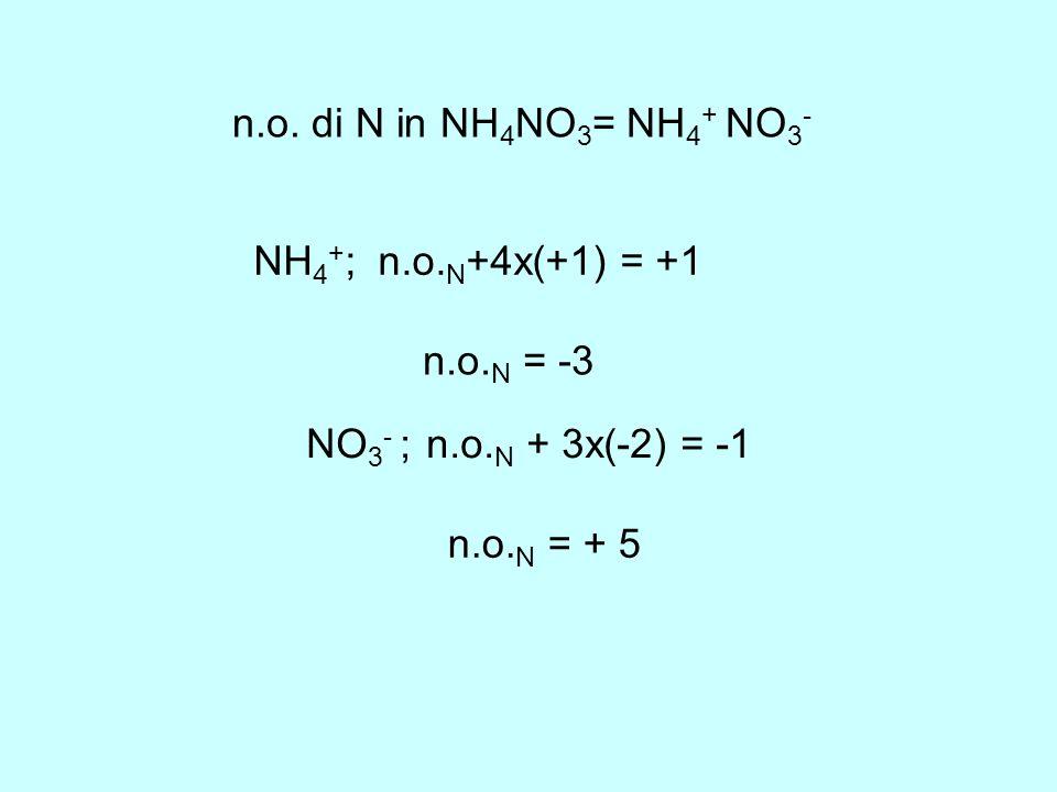 n.o. di N in NH4NO3= NH4+ NO3- NH4+; n.o.N+4x(+1) = +1 n.o.N = -3