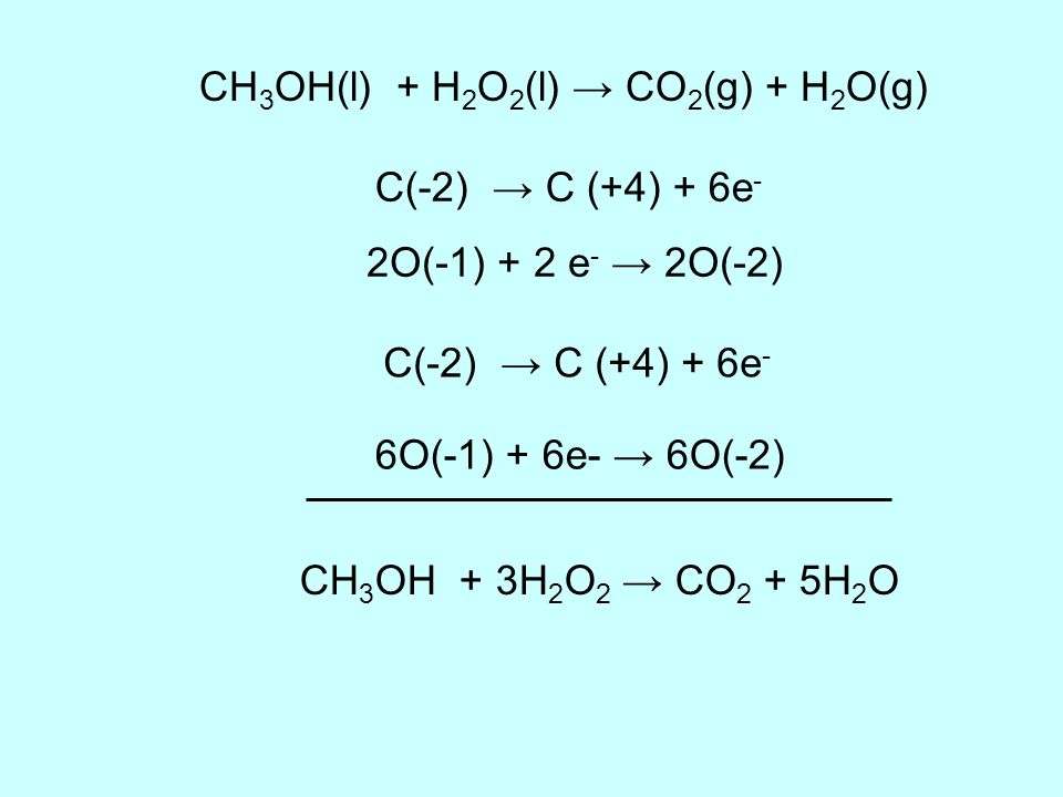 CH3OH(l) + H2O2(l) → CO2(g) + H2O(g)