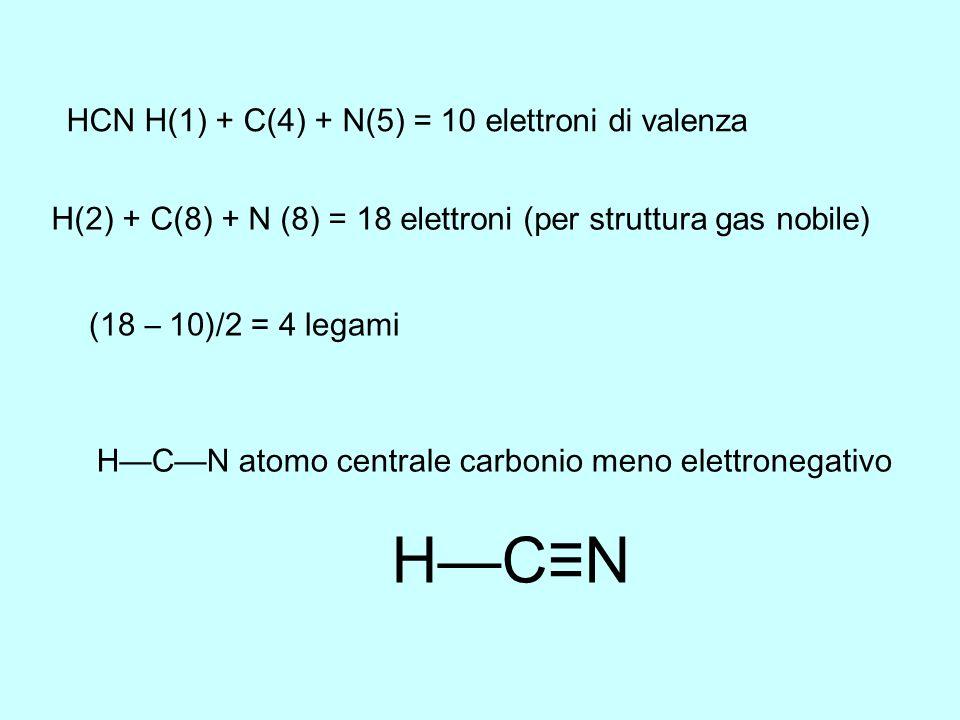 H—C≡N HCN H(1) + C(4) + N(5) = 10 elettroni di valenza