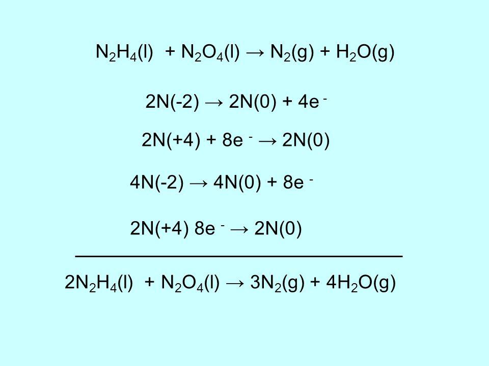 N2H4(l) + N2O4(l) → N2(g) + H2O(g)