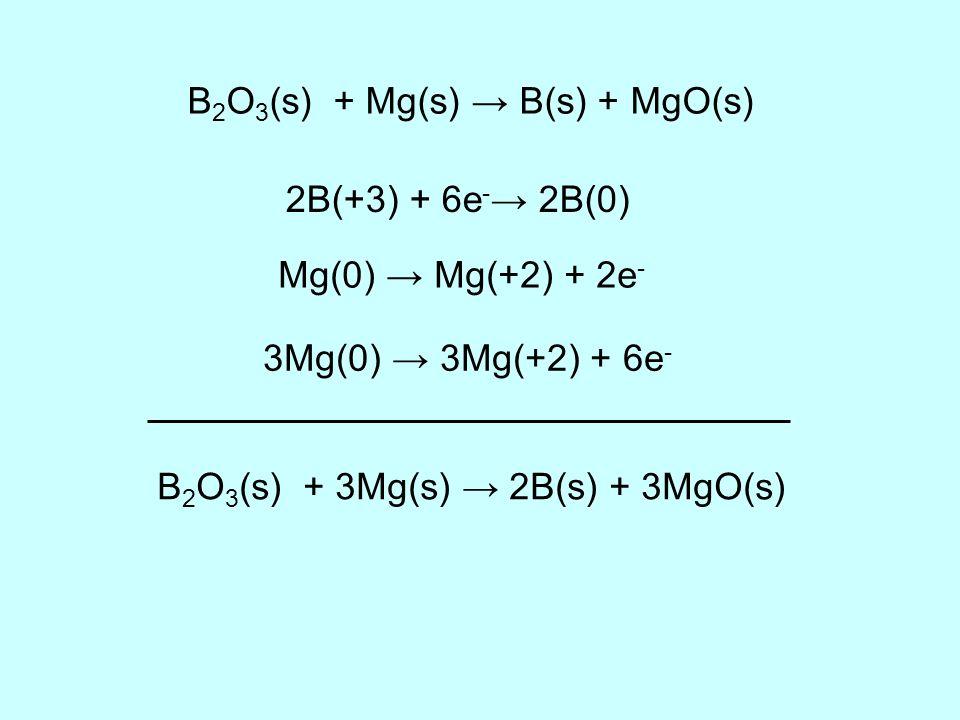 B2O3(s) + Mg(s) → B(s) + MgO(s)