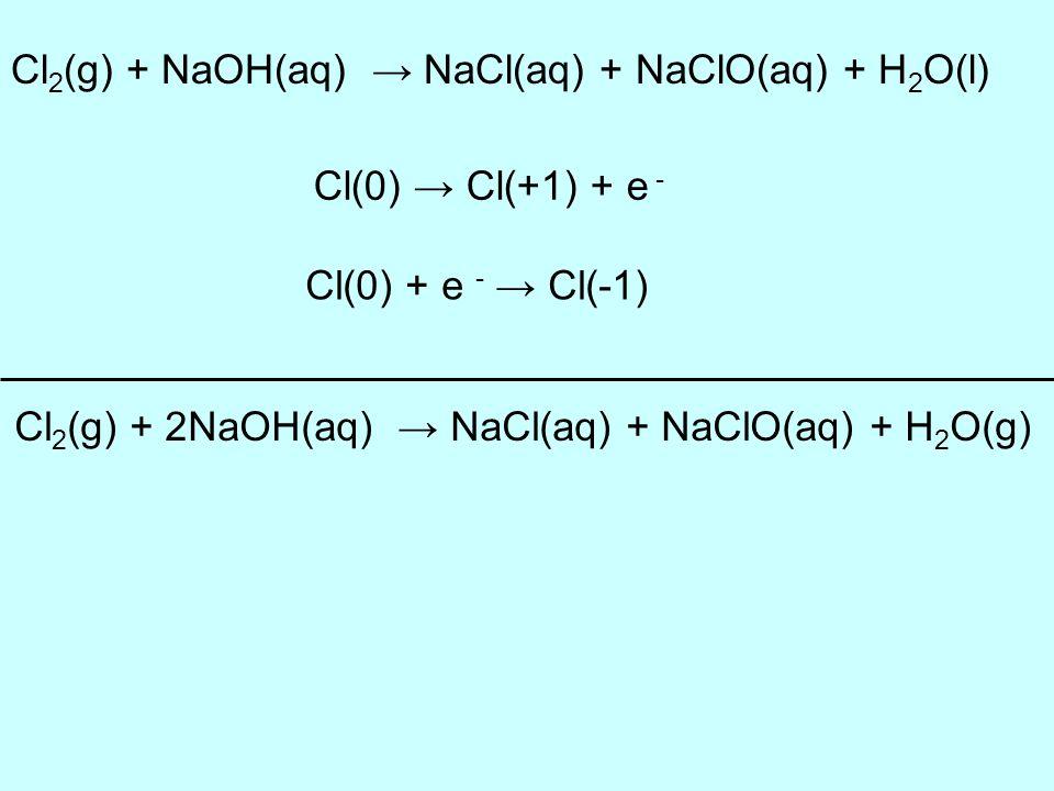 Cl2(g) + 2NaOH(aq) → NaCl(aq) + NaClO(aq) + H2O(g)