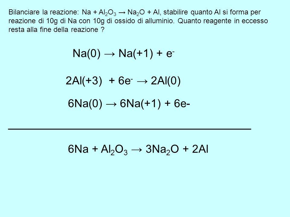 Na(0) → Na(+1) + e- 2Al(+3) + 6e- → 2Al(0) 6Na(0) → 6Na(+1) + 6e-