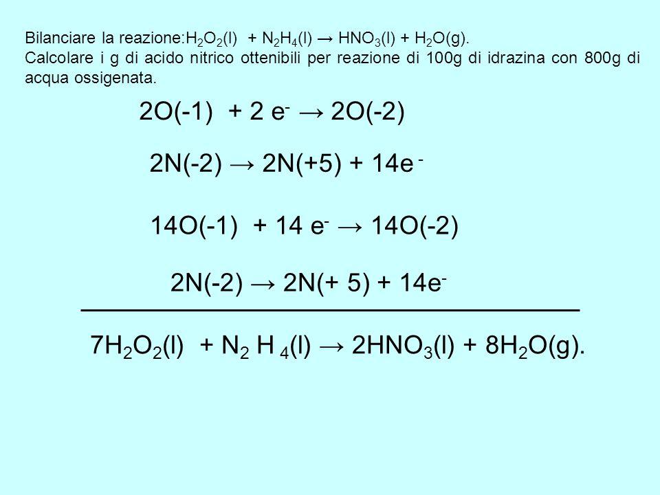 7H2O2(l) + N2 H 4(l) → 2HNO3(l) + 8H2O(g).
