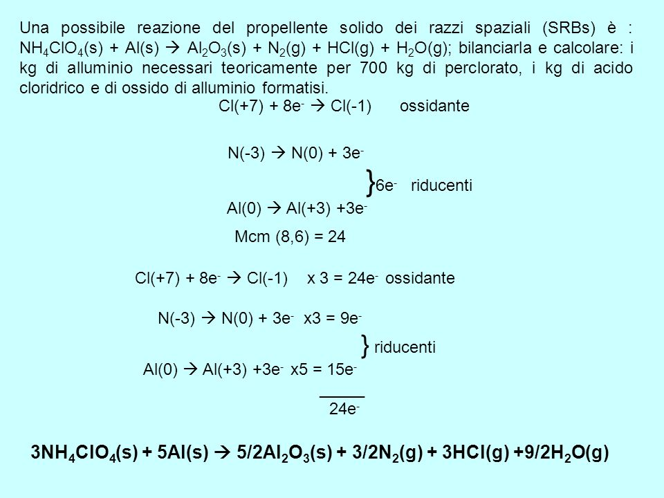 3NH4ClO4(s) + 5Al(s)  5/2Al2O3(s) + 3/2N2(g) + 3HCl(g) +9/2H2O(g)
