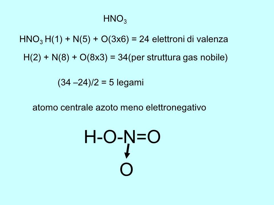 H-O-N=O O HNO3 HNO3 H(1) + N(5) + O(3x6) = 24 elettroni di valenza