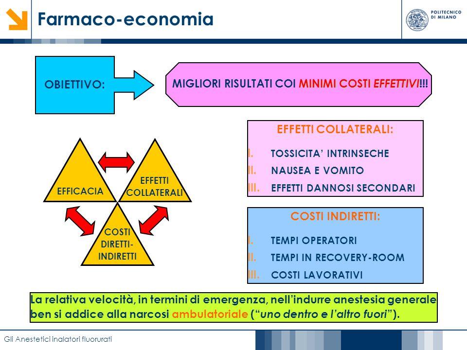 Farmaco-economia OBIETTIVO: EFFETTI COLLATERALI: COSTI INDIRETTI: