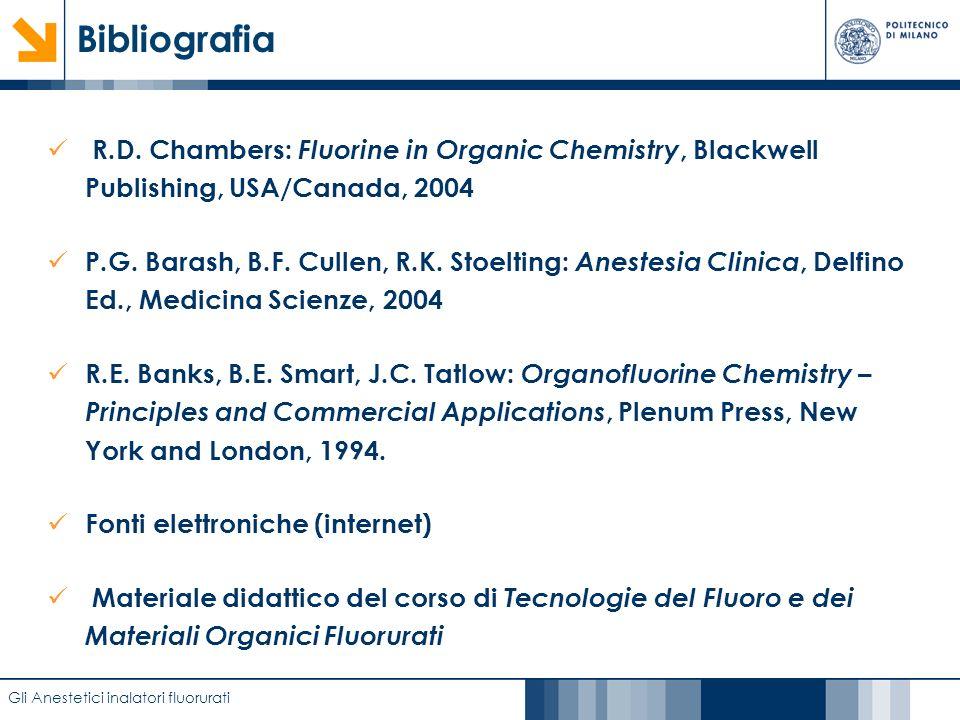 Bibliografia R.D. Chambers: Fluorine in Organic Chemistry, Blackwell Publishing, USA/Canada, 2004.