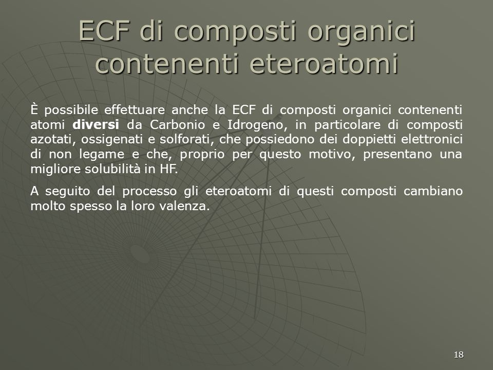 ECF di composti organici contenenti eteroatomi