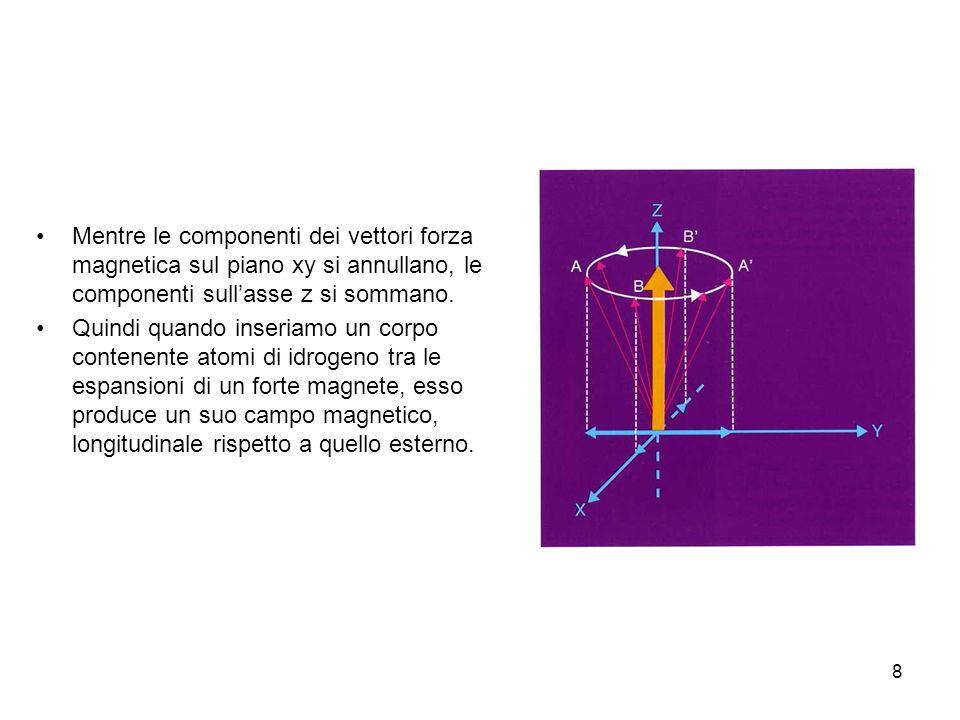 Mentre le componenti dei vettori forza magnetica sul piano xy si annullano, le componenti sull'asse z si sommano.