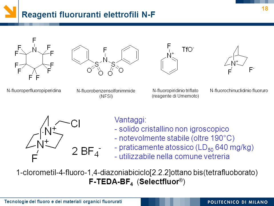 Reagenti fluoruranti elettrofili N-F