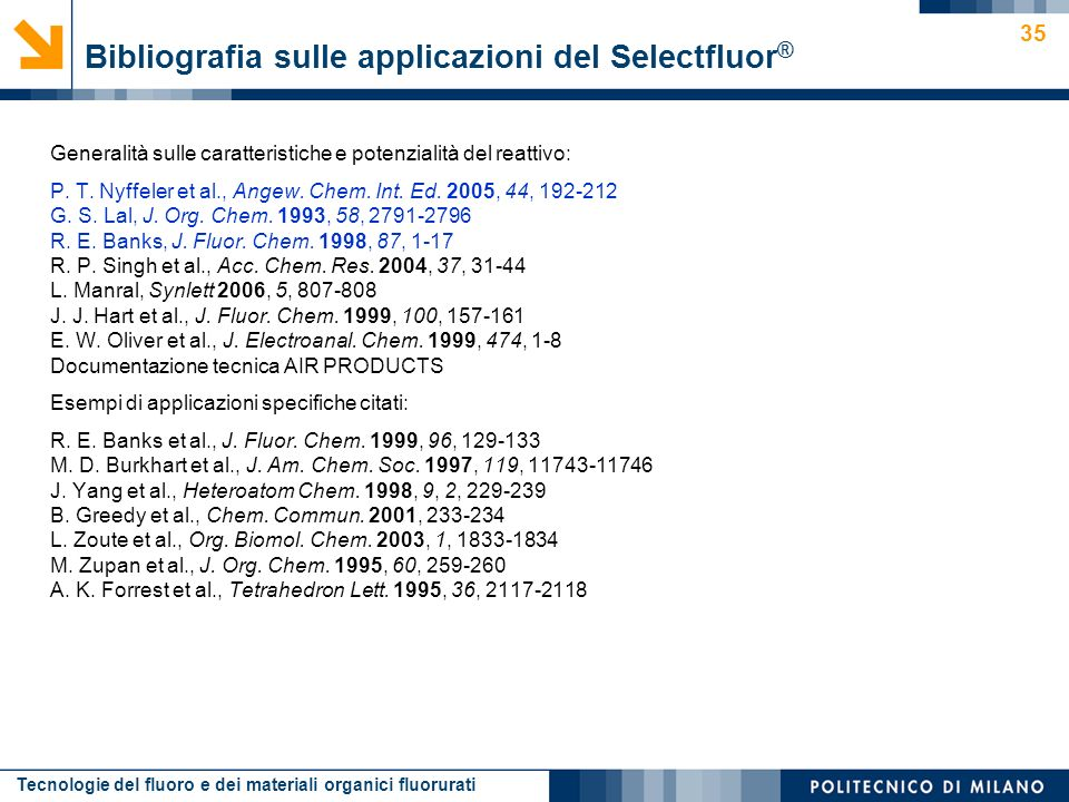 Bibliografia sulle applicazioni del Selectfluor®