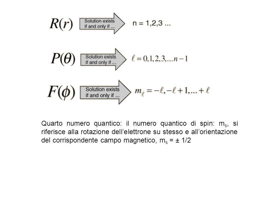 Quarto numero quantico: il numero quantico di spin: ms, si riferisce alla rotazione dell'elettrone su stesso e all'orientazione del corrispondente campo magnetico, ms = ± 1/2
