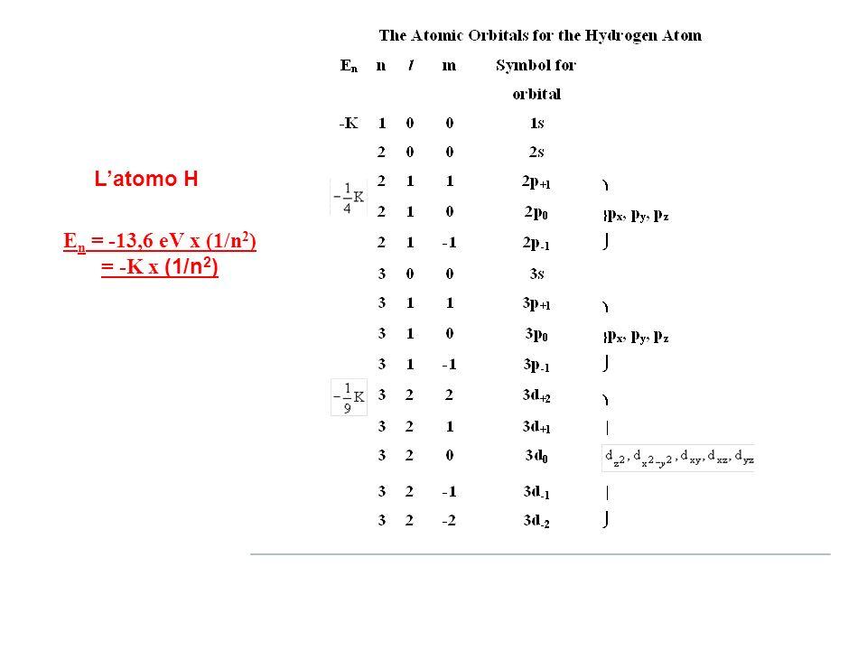 L'atomo H En = -13,6 eV x (1/n2) = -K x (1/n2)