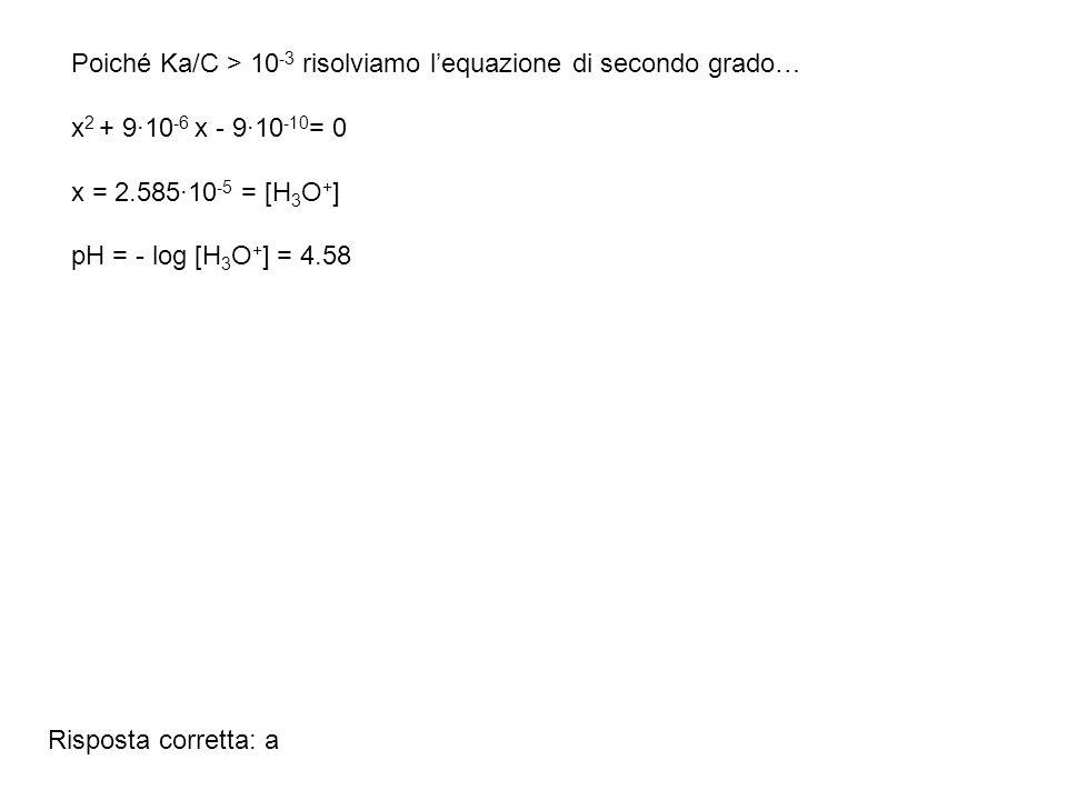 Poiché Ka/C > 10-3 risolviamo l'equazione di secondo grado…