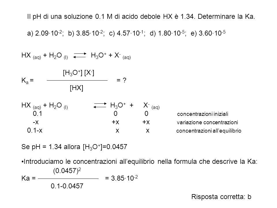 Il pH di una soluzione 0. 1 M di acido debole HX è 1. 34